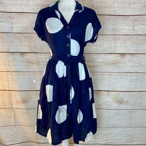 Boden Blue Linen Blend Polka Dot Dress